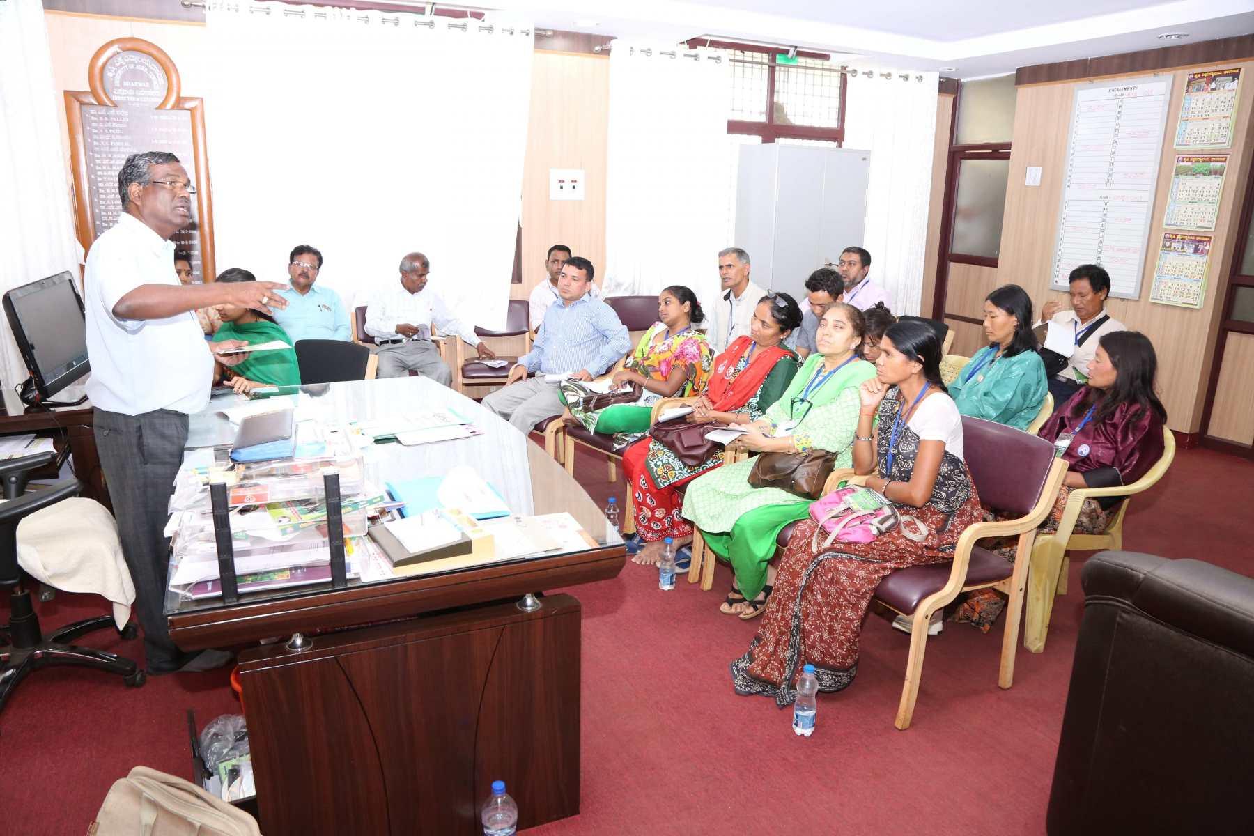 Dr. Benegi giving exposure on farmer's help line