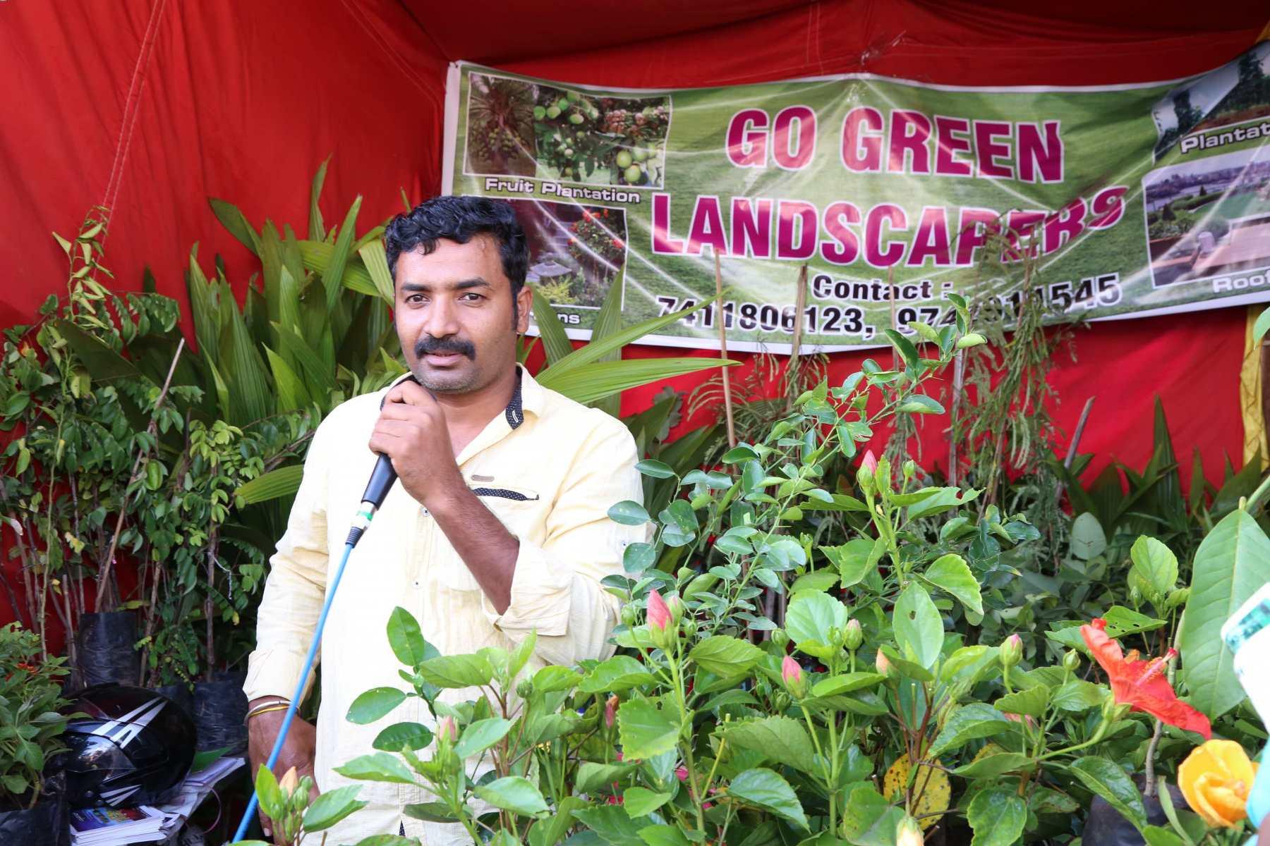 Farmer explaining landscaping process